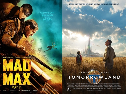 "The clue is in the posters: relentless pessimism, destruction and chaos, ""the future belongs to the mad"", vs a calm and tranquil landscape shot of a place that inspires hope."